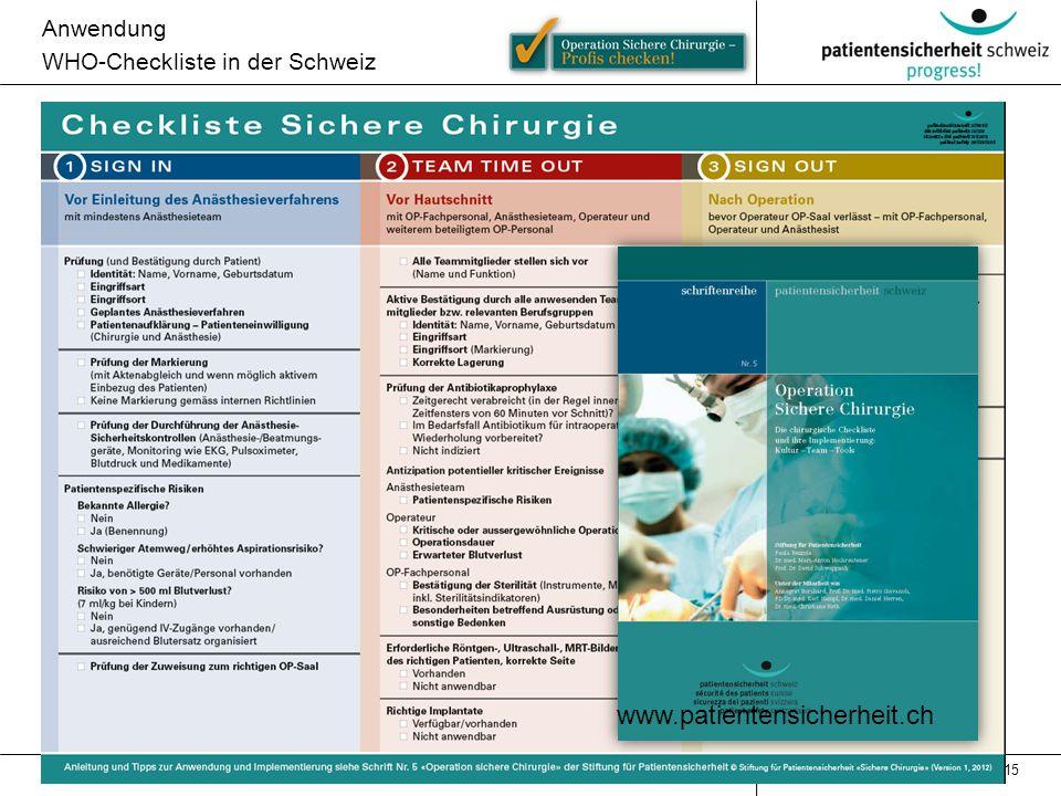 www.patientensicherheit.ch Anwendung WHO-Checkliste in der Schweiz