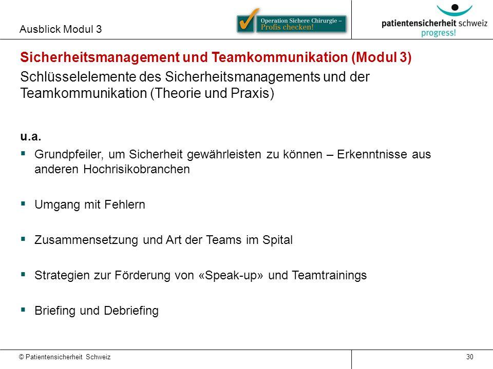 Sicherheitsmanagement und Teamkommunikation (Modul 3)