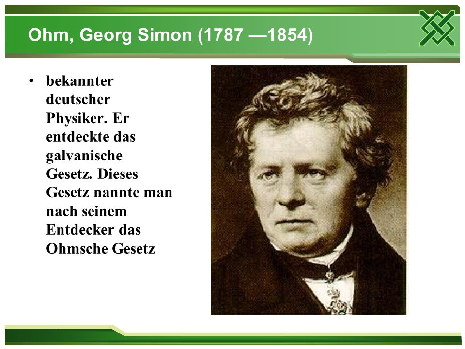 Ohm, Georg Simon (1787 —1854)