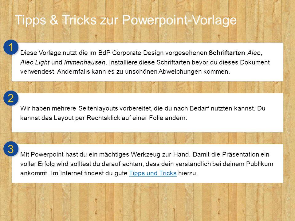 Tipps & Tricks zur Powerpoint-Vorlage