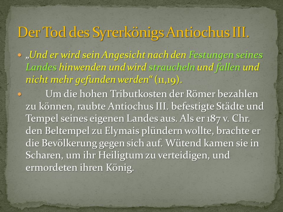 Der Tod des Syrerkönigs Antiochus III.