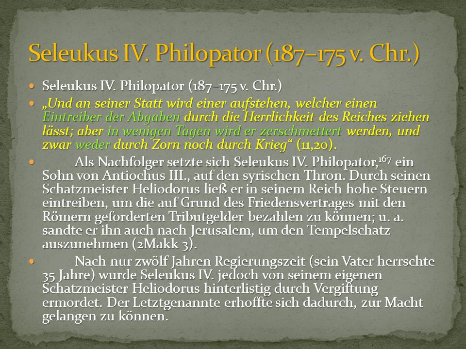 Seleukus IV. Philopator (187–175 v. Chr.)