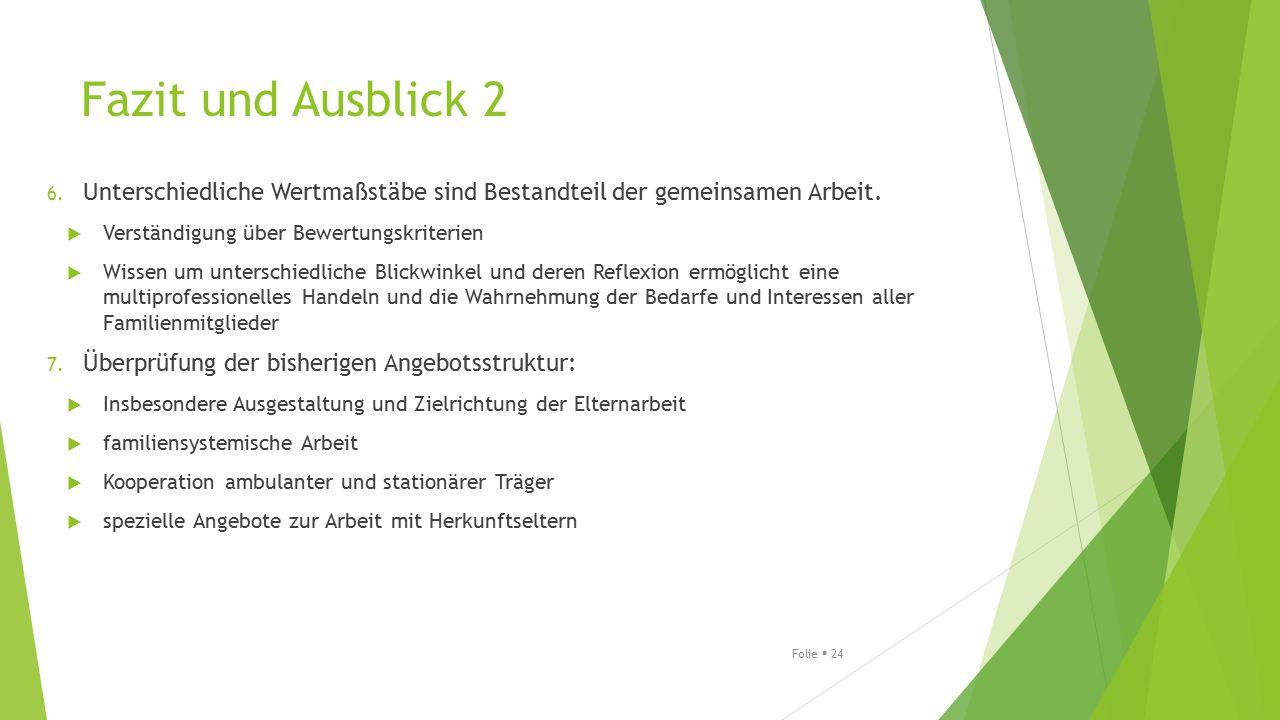 Fazit und Ausblick 2 Unterschiedliche Wertmaßstäbe sind Bestandteil der gemeinsamen Arbeit. Verständigung über Bewertungskriterien.
