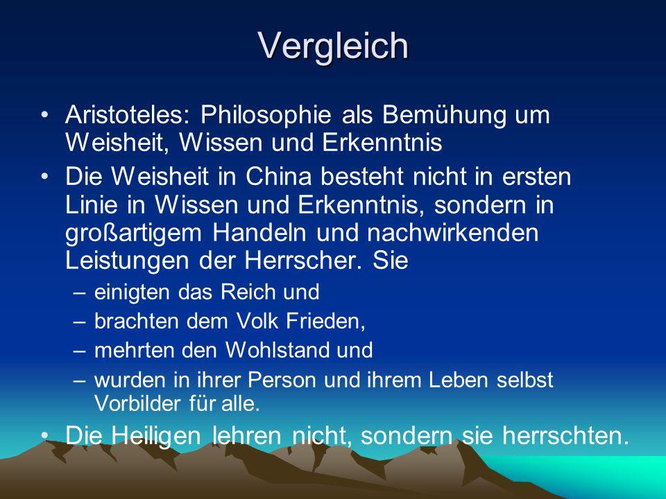 Vergleich Aristoteles: Philosophie als Bemühung um Weisheit, Wissen und Erkenntnis.