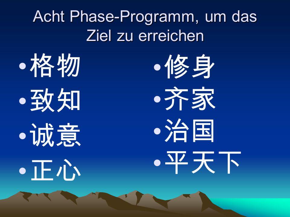 Acht Phase-Programm, um das Ziel zu erreichen
