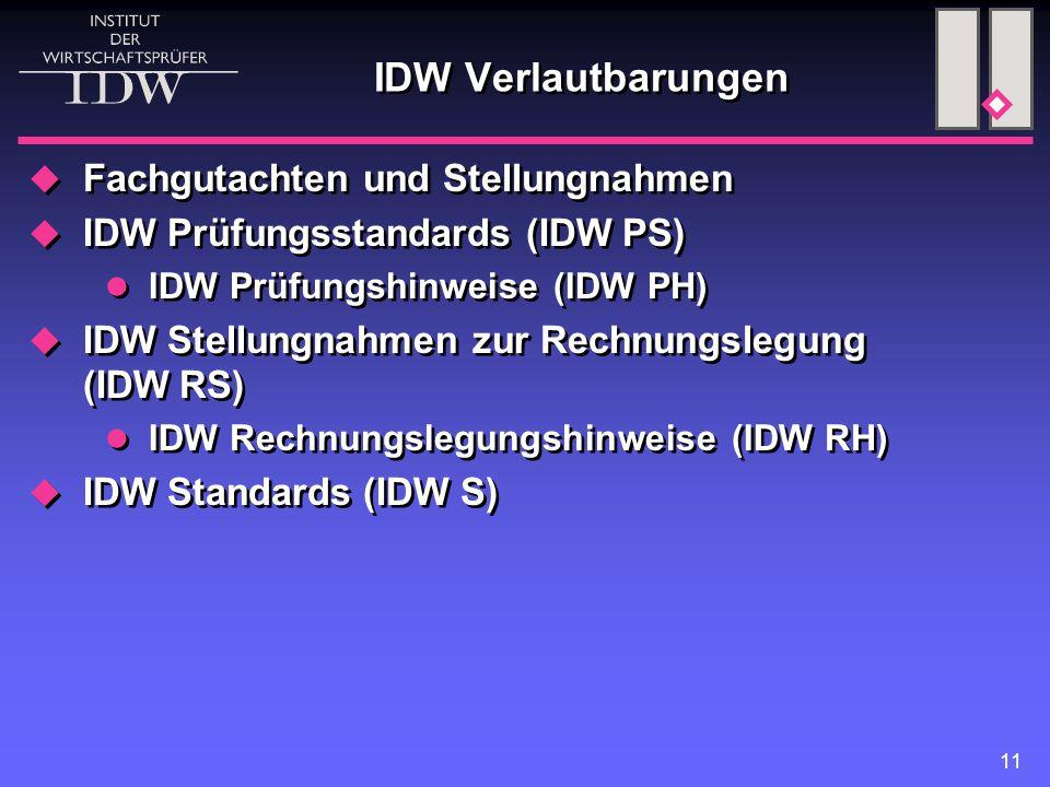 IDW Verlautbarungen Fachgutachten und Stellungnahmen