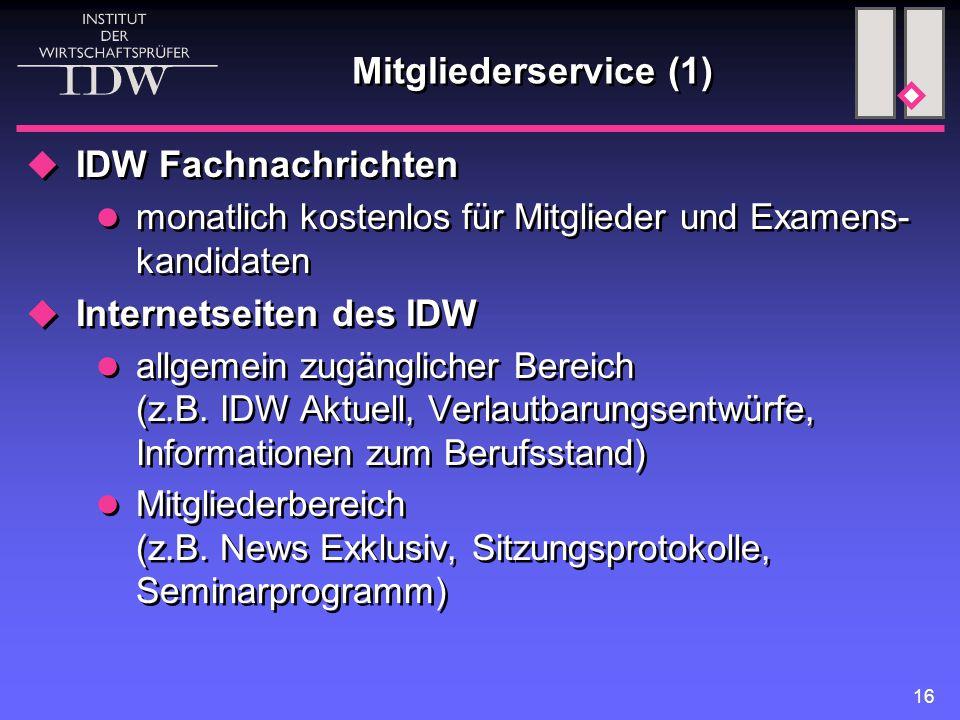 Internetseiten des IDW