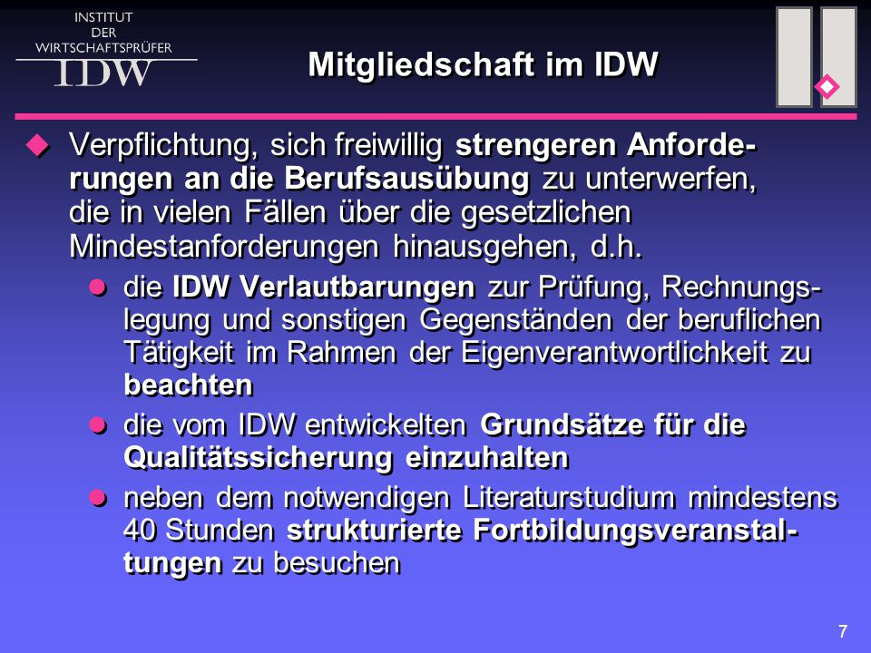 Mitgliedschaft im IDW
