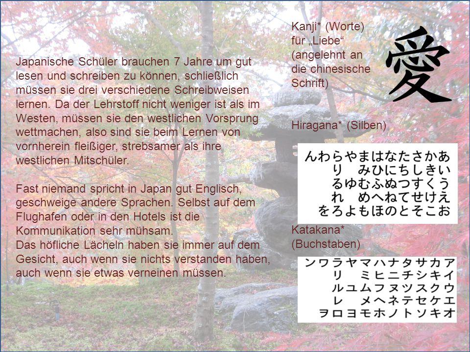"""Kanji* (Worte) für """"Liebe (angelehnt an. die chinesische Schrift) Hiragana* (Silben)"""