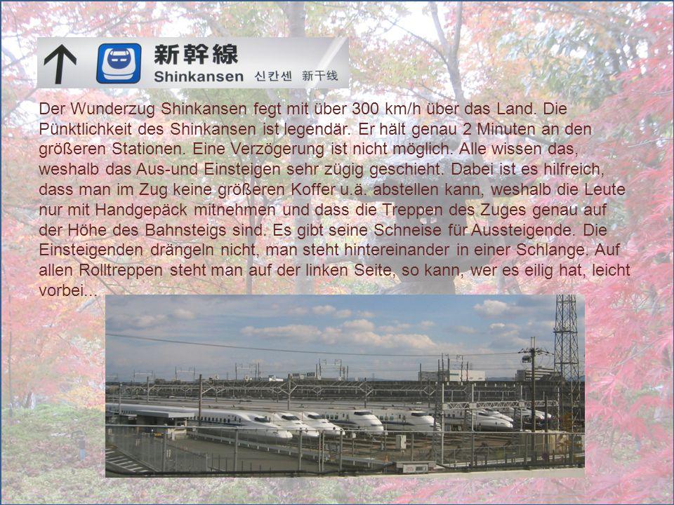 Der Wunderzug Shinkansen fegt mit über 300 km/h über das Land