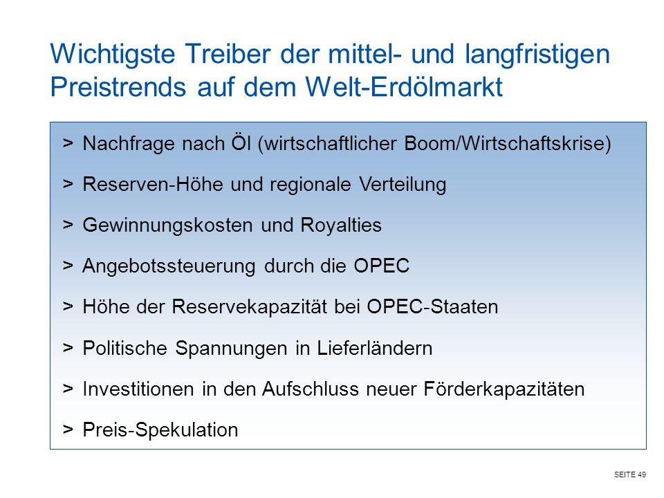 Wichtigste Treiber der mittel- und langfristigen Preistrends auf dem Welt-Erdölmarkt