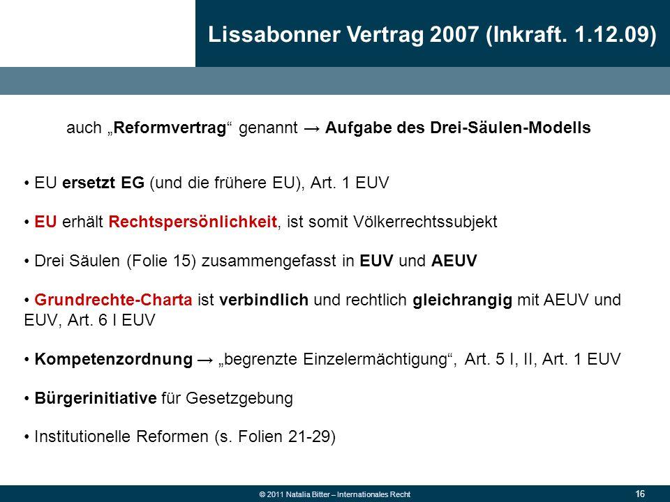 Lissabonner Vertrag 2007 (Inkraft. 1.12.09)