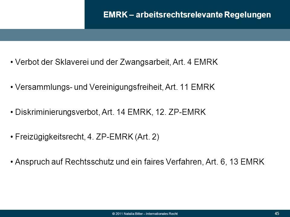 EMRK – arbeitsrechtsrelevante Regelungen