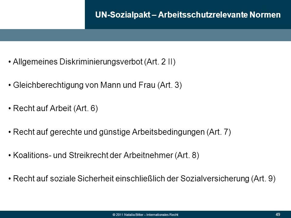 UN-Sozialpakt – Arbeitsschutzrelevante Normen
