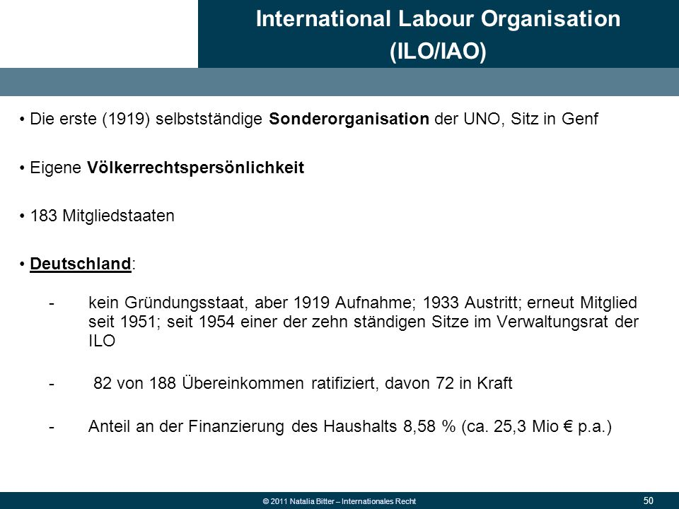 International Labour Organisation (ILO/IAO)