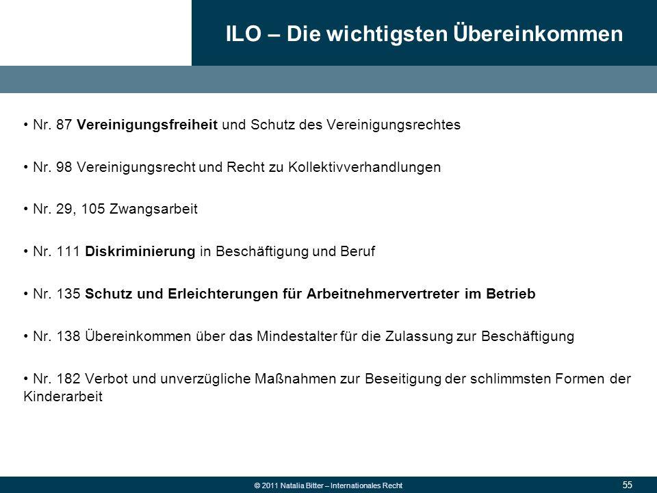 ILO – Die wichtigsten Übereinkommen