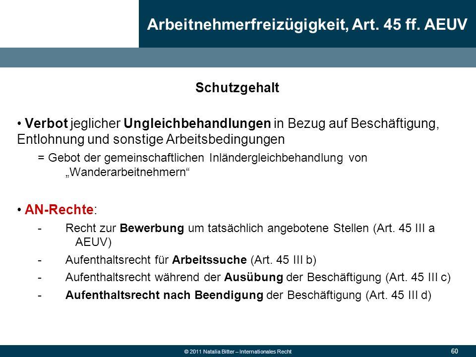 Arbeitnehmerfreizügigkeit, Art. 45 ff. AEUV