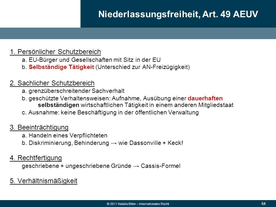 Niederlassungsfreiheit, Art. 49 AEUV