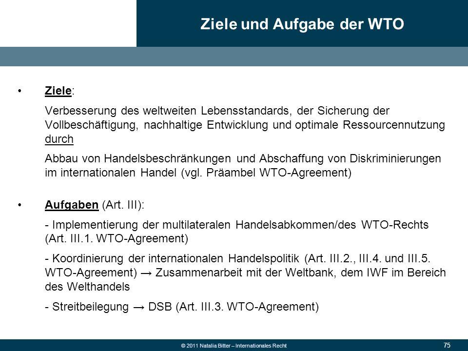 Ziele und Aufgabe der WTO