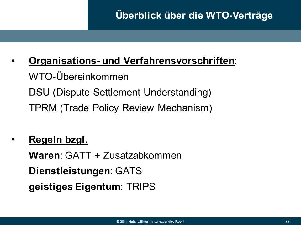 Überblick über die WTO-Verträge