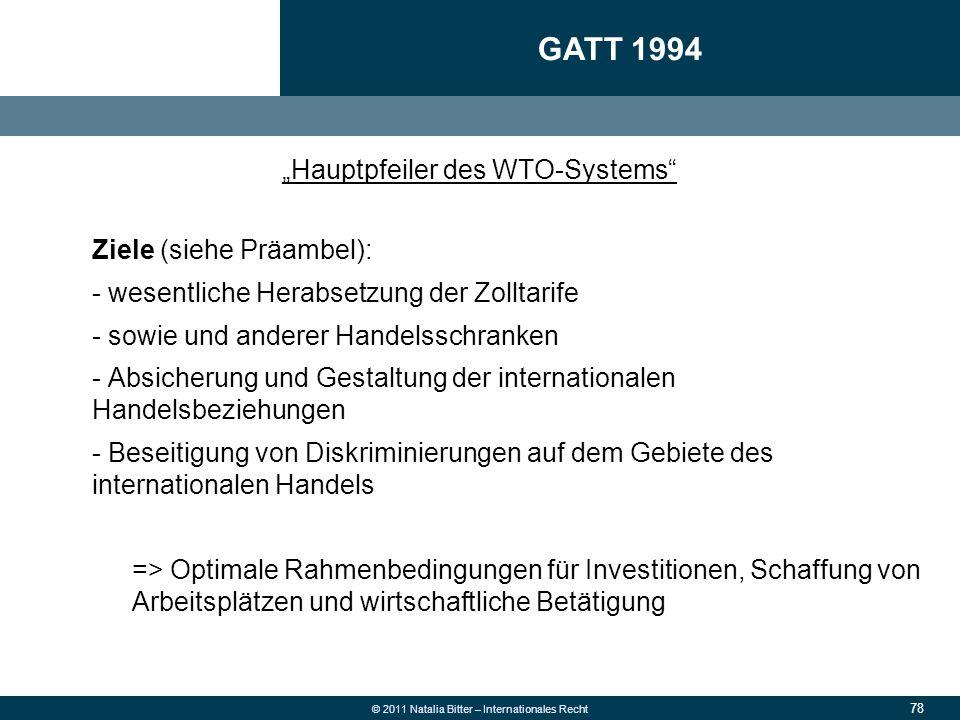 """GATT 1994 """"Hauptpfeiler des WTO-Systems Ziele (siehe Präambel):"""