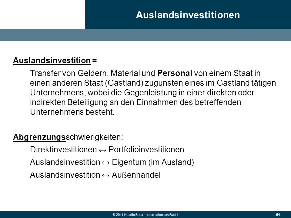Auslandsinvestitionen