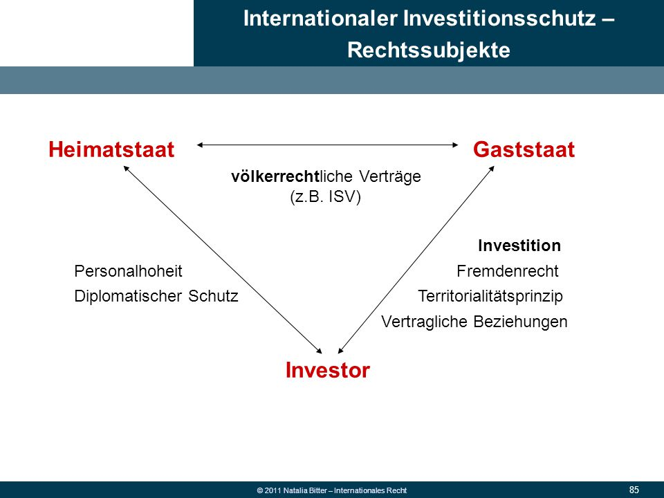 Internationaler Investitionsschutz – Rechtssubjekte