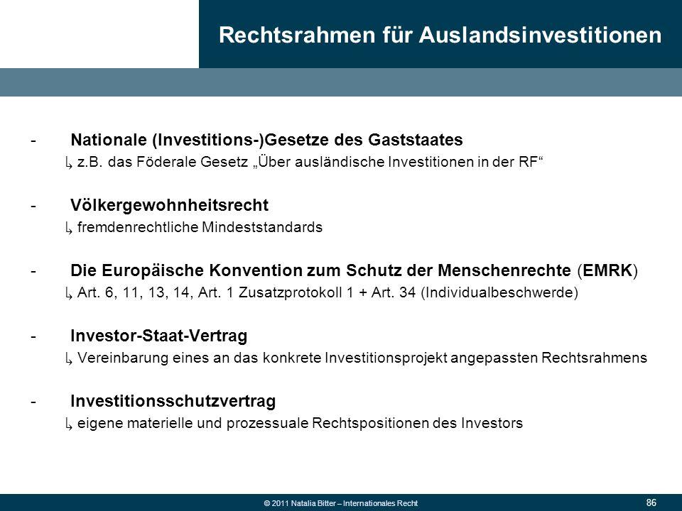 Rechtsrahmen für Auslandsinvestitionen