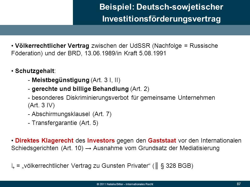 Beispiel: Deutsch-sowjetischer Investitionsförderungsvertrag