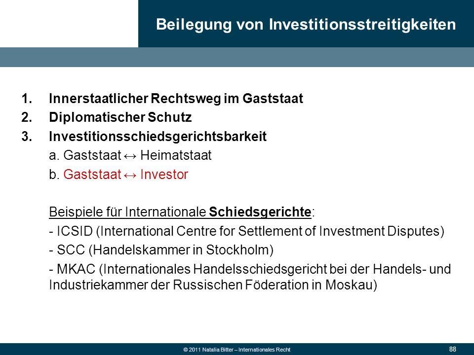 Beilegung von Investitionsstreitigkeiten