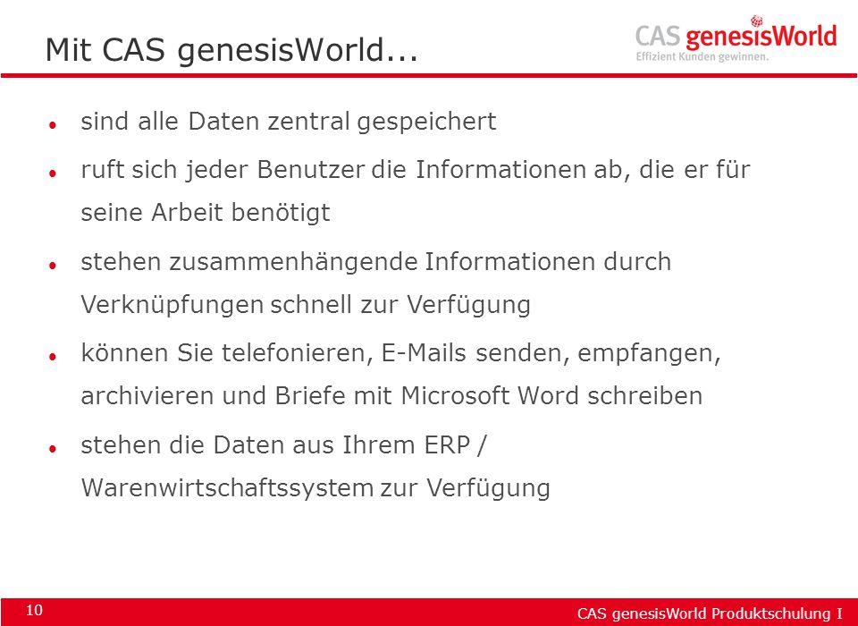 Mit CAS genesisWorld... sind alle Daten zentral gespeichert