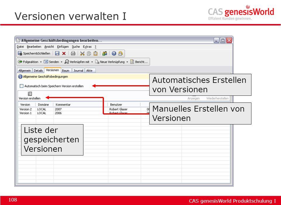 Versionen verwalten I Automatisches Erstellen von Versionen