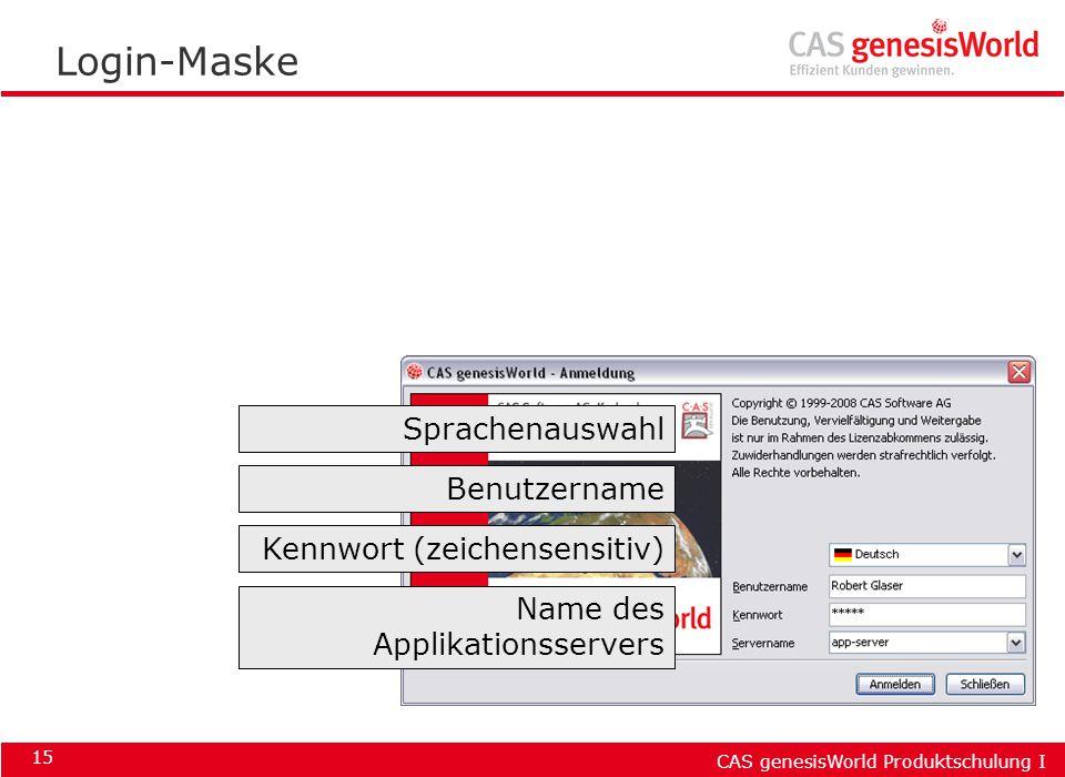 Login-Maske Sprachenauswahl Benutzername Kennwort (zeichensensitiv)