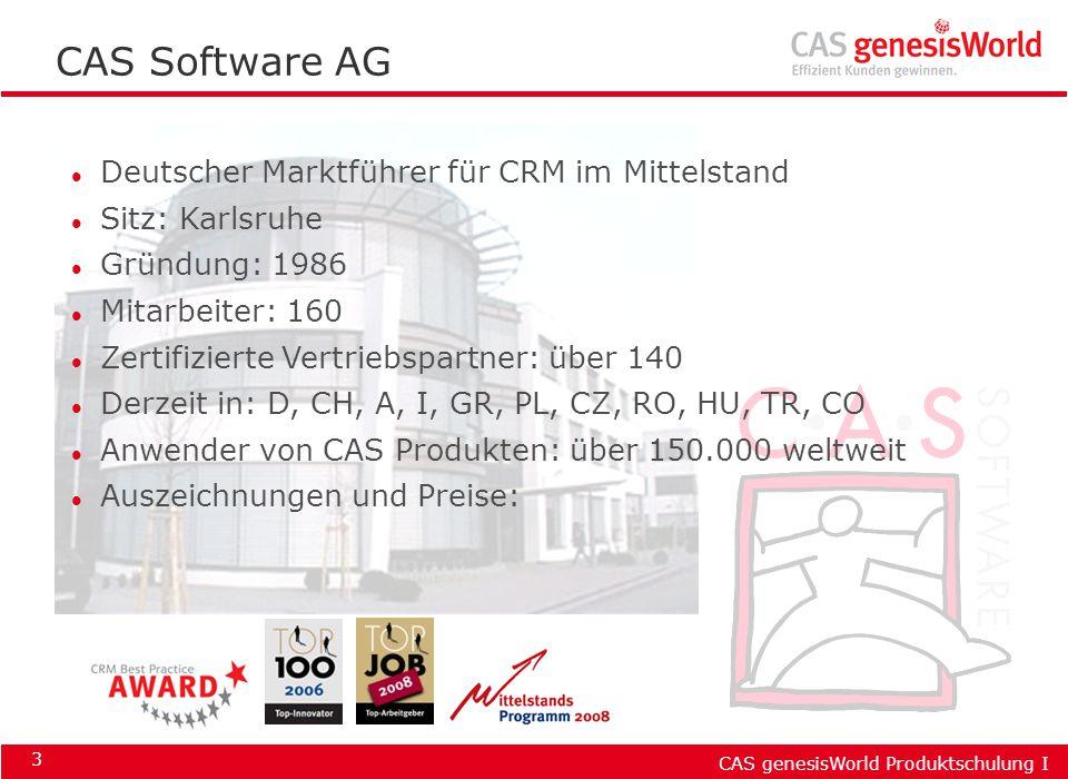CAS Software AG Deutscher Marktführer für CRM im Mittelstand