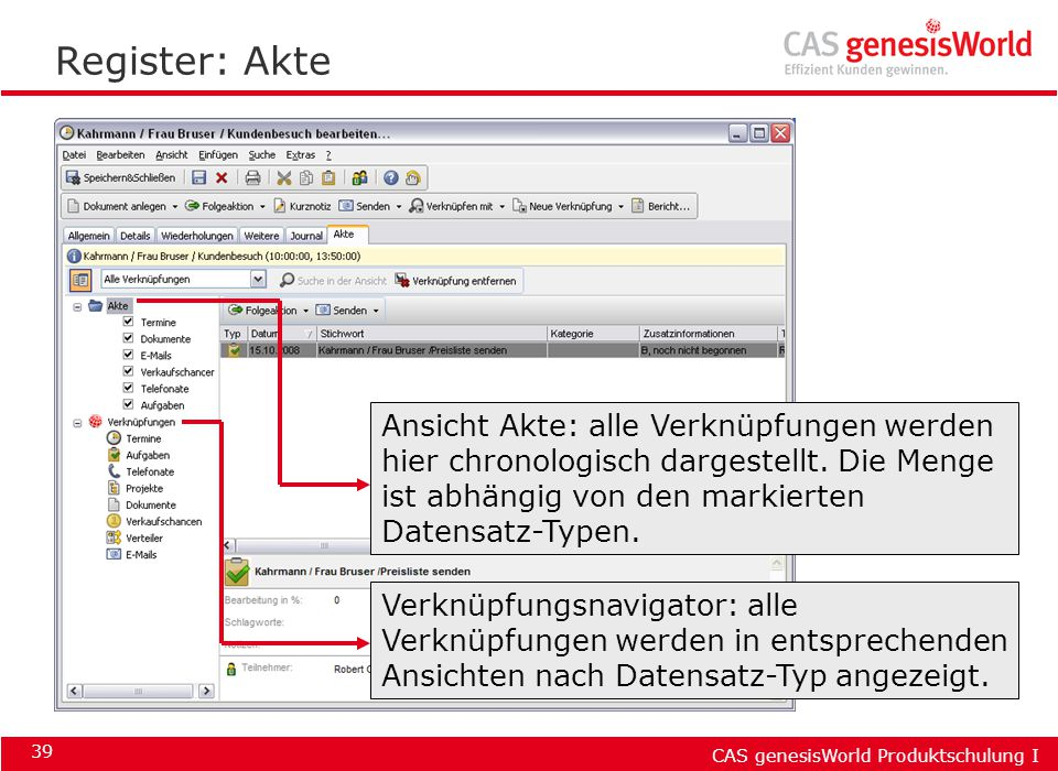 Register: Akte Ansicht Akte: alle Verknüpfungen werden hier chronologisch dargestellt. Die Menge ist abhängig von den markierten Datensatz-Typen.