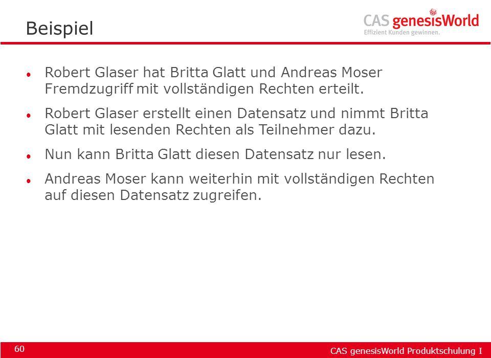 Beispiel Robert Glaser hat Britta Glatt und Andreas Moser Fremdzugriff mit vollständigen Rechten erteilt.