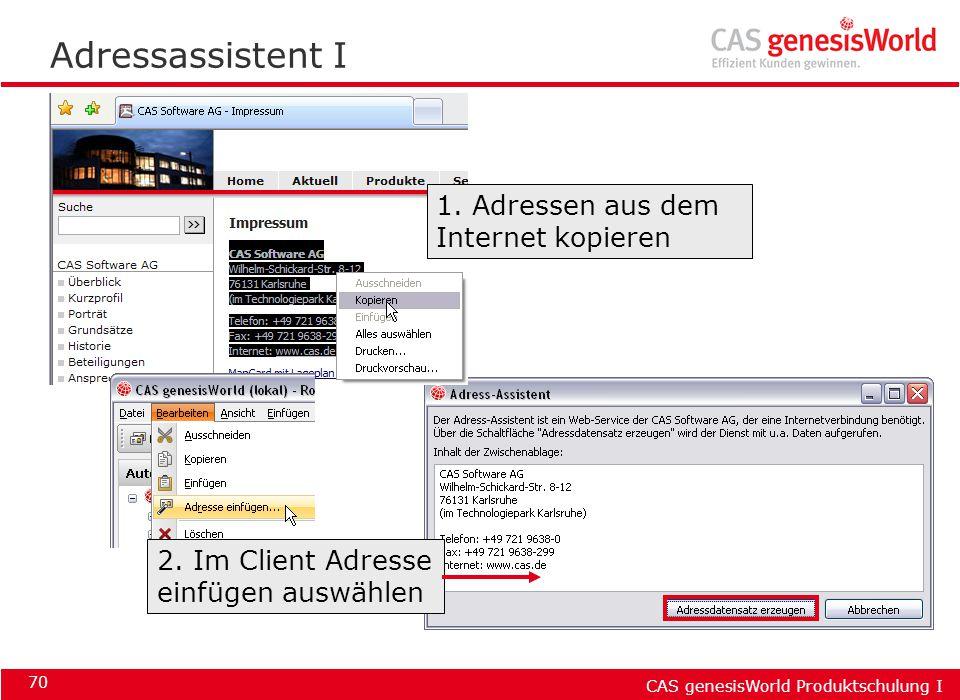 Adressassistent I 1. Adressen aus dem Internet kopieren