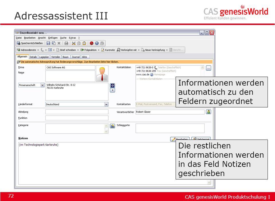 Adressassistent III Informationen werden automatisch zu den Feldern zugeordnet.
