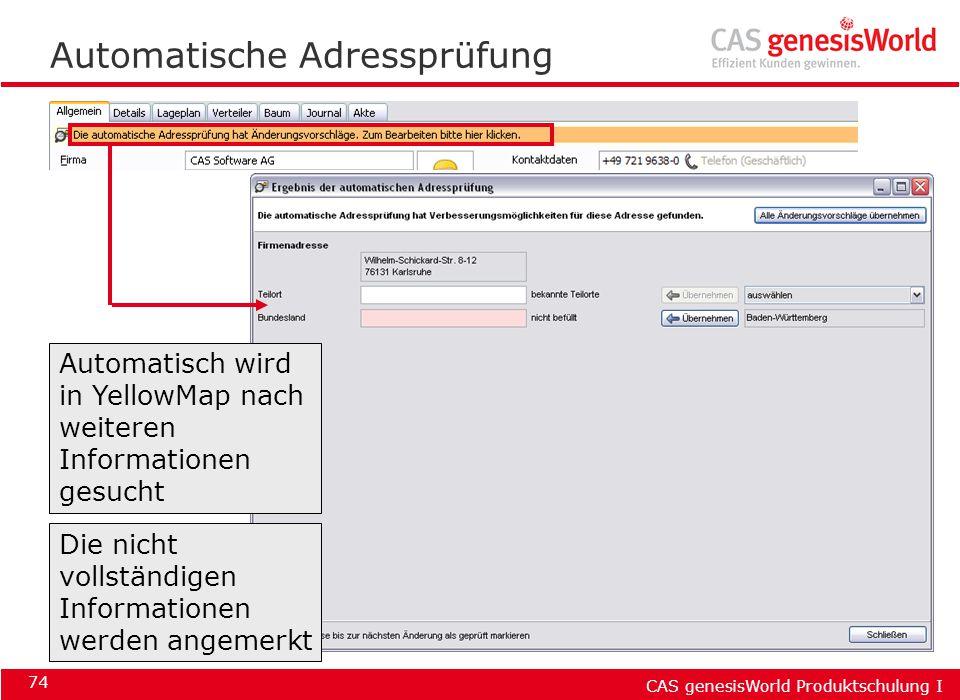 Automatische Adressprüfung