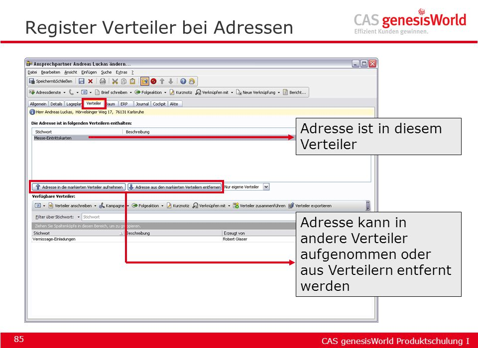 Register Verteiler bei Adressen