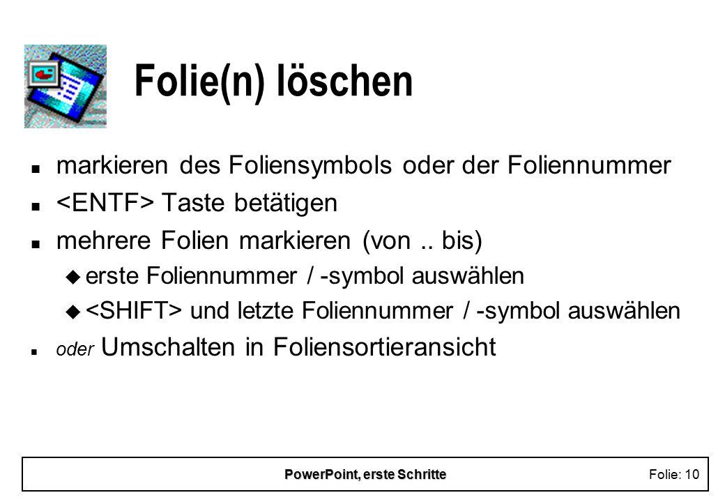 PowerPoint, erste Schritte