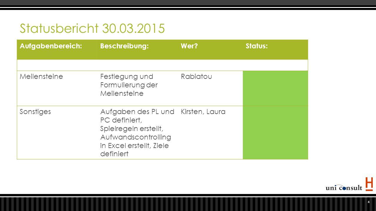 Statusbericht 30.03.2015 Aufgabenbereich: Beschreibung: Wer Status: