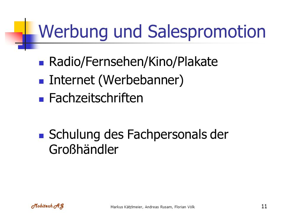 Werbung und Salespromotion