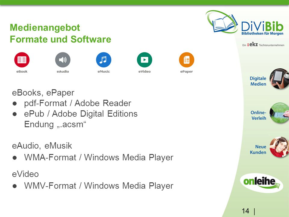 Medienangebot Formate und Software