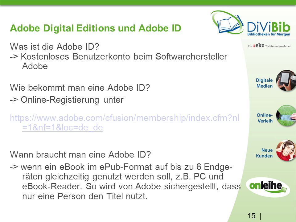 Adobe Digital Editions und Adobe ID