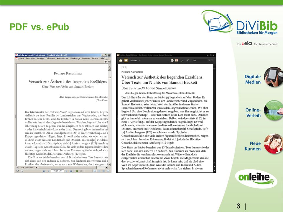 PDF vs. ePub 6 | ePubs (electronic publication) Sauberer Zeilenumbruch