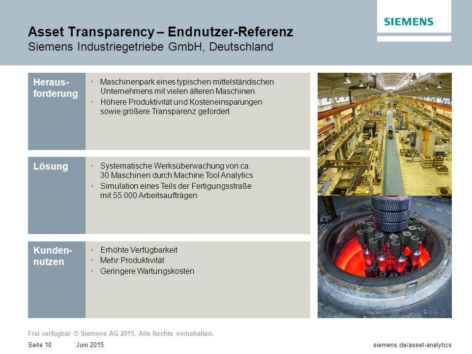 Asset Transparency – Endnutzer-Referenz Siemens Industriegetriebe GmbH, Deutschland