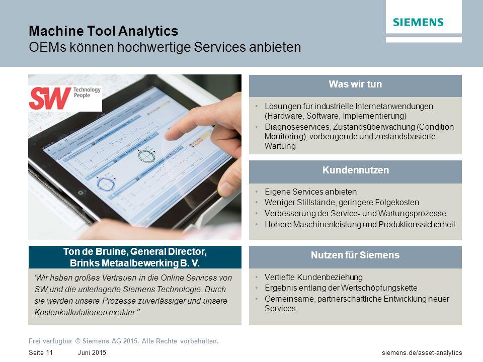 Machine Tool Analytics OEMs können hochwertige Services anbieten