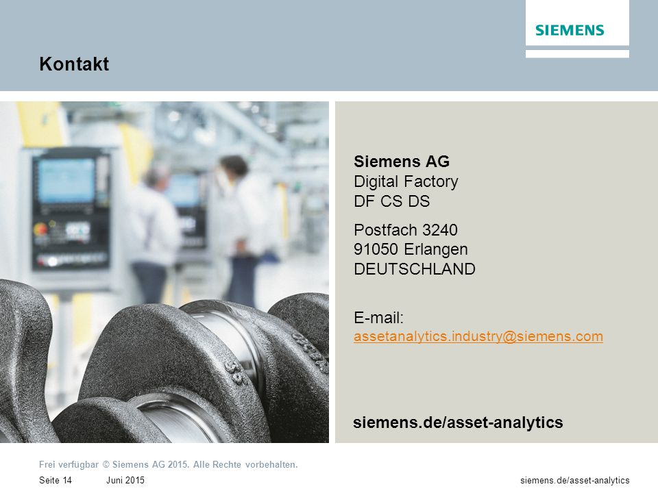 Kontakt Siemens AG Digital Factory DF CS DS