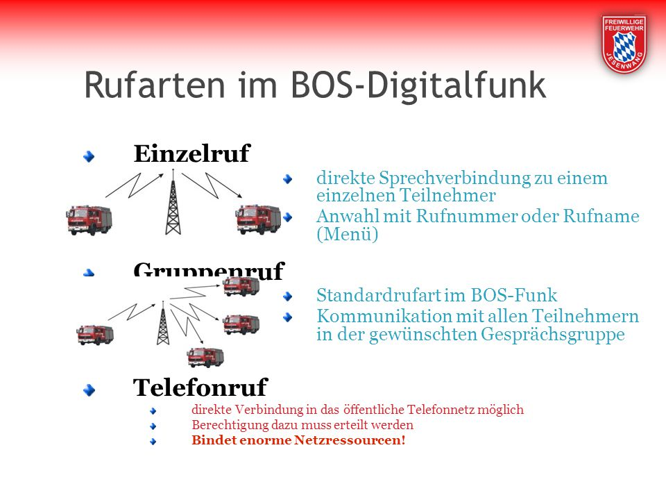 Rufarten im BOS-Digitalfunk